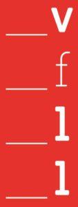 Logo des Verbandes der freien Lektorinnen und Lektoren, rotes Rechteck senkrecht mit den weißen Buchstaben v, f, l, l
