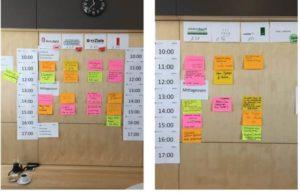 2 Tafeln als Matrix beschriftet mit Räumen und Zeiten und gefüllt mit inhaltlichen Angeboten in den jeweiligen Zeit-Raum-Angeboten
